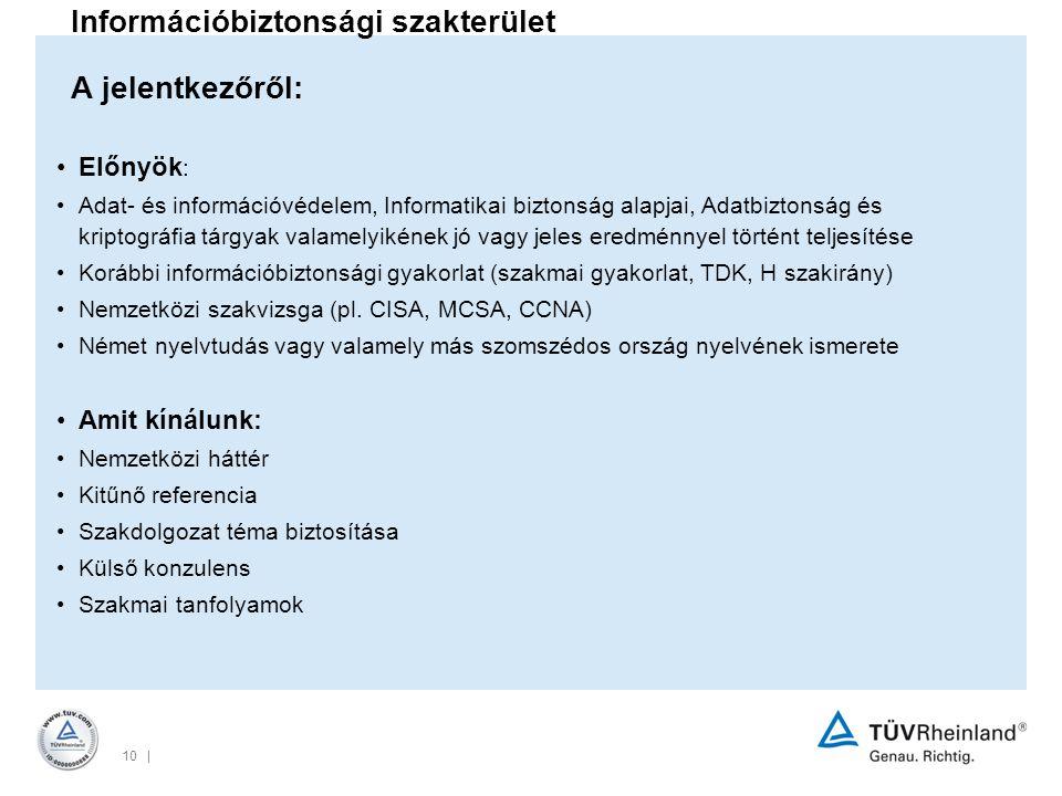 10 | Információbiztonsági szakterület A jelentkezőről: Előnyök : Adat- és információvédelem, Informatikai biztonság alapjai, Adatbiztonság és kriptográfia tárgyak valamelyikének jó vagy jeles eredménnyel történt teljesítése Korábbi információbiztonsági gyakorlat (szakmai gyakorlat, TDK, H szakirány) Nemzetközi szakvizsga (pl.