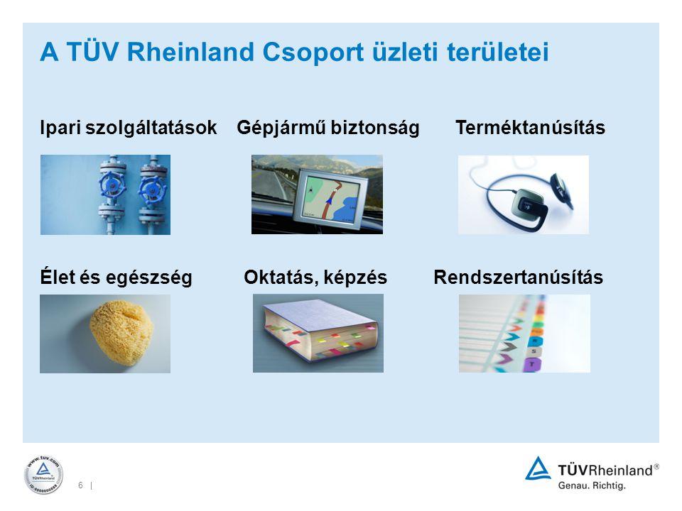 6 | A TÜV Rheinland Csoport üzleti területei Élet és egészség Oktatás, képzés Rendszertanúsítás Ipari szolgáltatások Gépjármű biztonság Terméktanúsítás