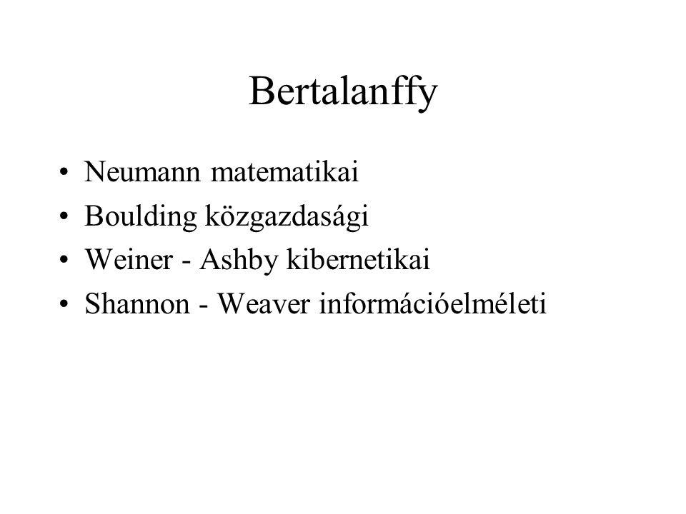 Bertalanffy Neumann matematikai Boulding közgazdasági Weiner - Ashby kibernetikai Shannon - Weaver információelméleti