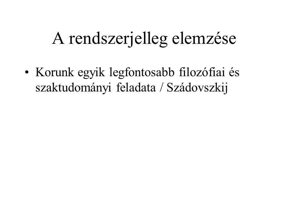 A rendszerjelleg elemzése Korunk egyik legfontosabb filozófiai és szaktudományi feladata / Szádovszkij
