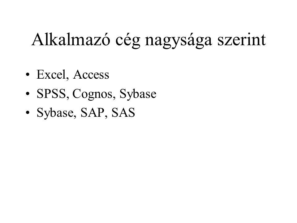 Alkalmazó cég nagysága szerint Excel, Access SPSS, Cognos, Sybase Sybase, SAP, SAS