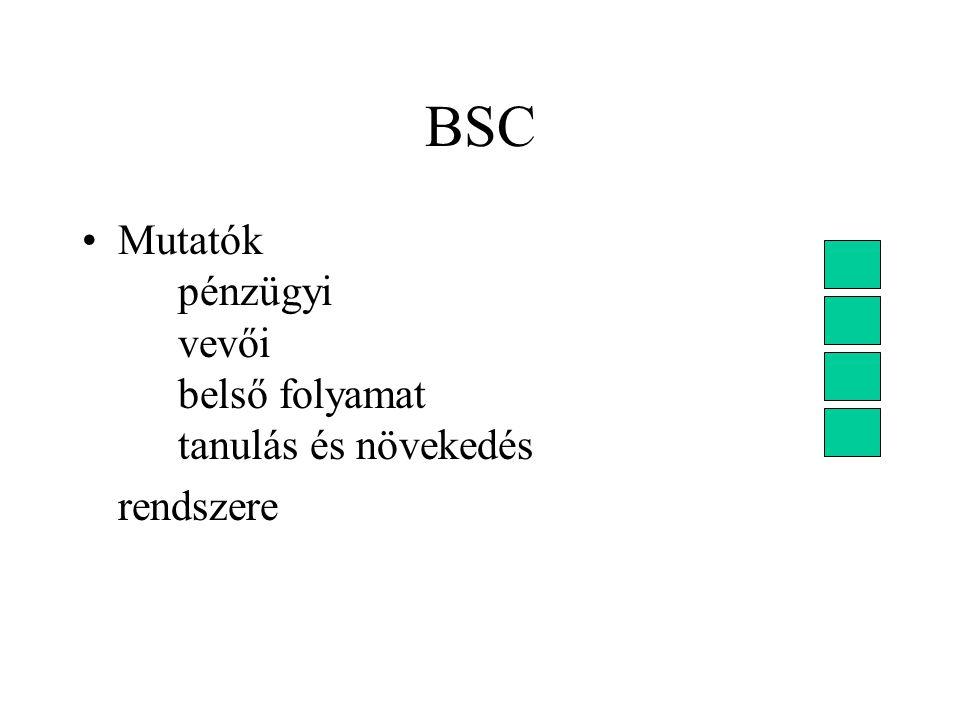 BSC Mutatók pénzügyi vevői belső folyamat tanulás és növekedés rendszere