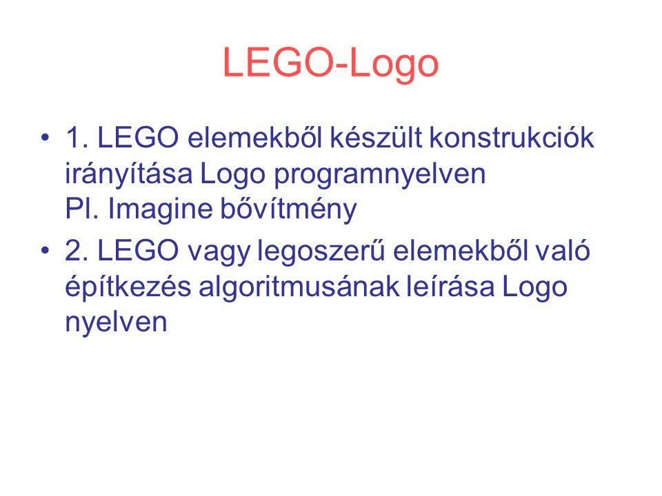 LEGO-Logo 1. LEGO elemekből készült konstrukciók irányítása Logo programnyelven Pl. Imagine bővítmény 2. LEGO vagy legoszerű elemekből való építkezés