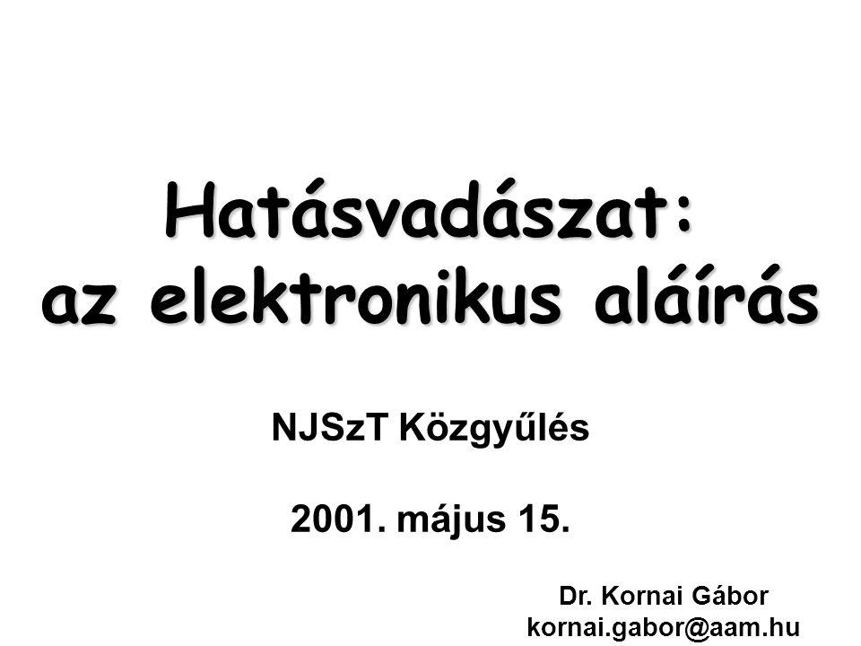 Hatásvadászat: az elektronikus aláírás Hatásvadászat: az elektronikus aláírás NJSzT Közgyűlés 2001.