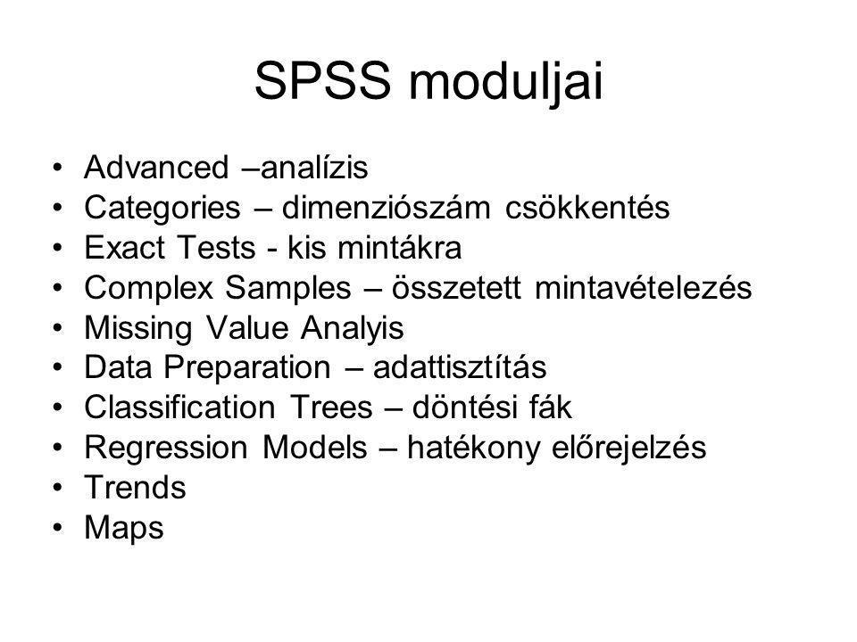 SPSS moduljai Advanced –analízis Categories – dimenziószám csökkentés Exact Tests - kis mintákra Complex Samples – összetett mintavételezés Missing Value Analyis Data Preparation – adattisztítás Classification Trees – döntési fák Regression Models – hatékony előrejelzés Trends Maps