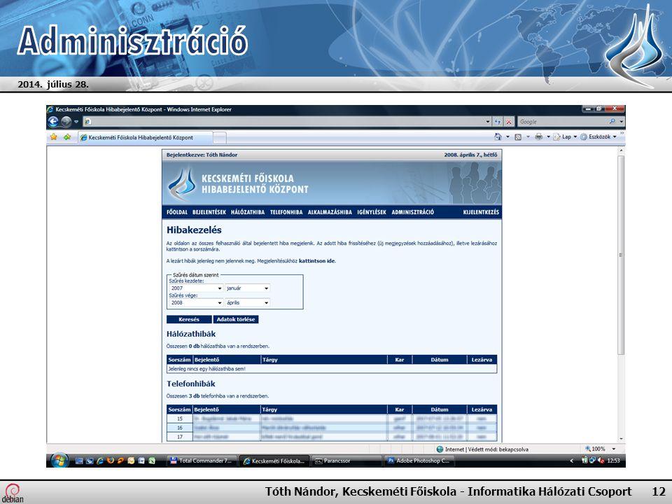 2014. július 28. Tóth Nándor, Kecskeméti Főiskola - Informatika Hálózati Csoport 12