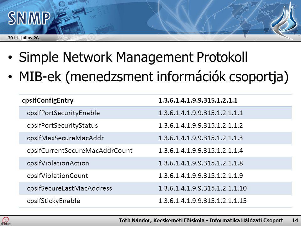 Simple Network Management Protokoll MIB-ek (menedzsment információk csoportja) 2014.