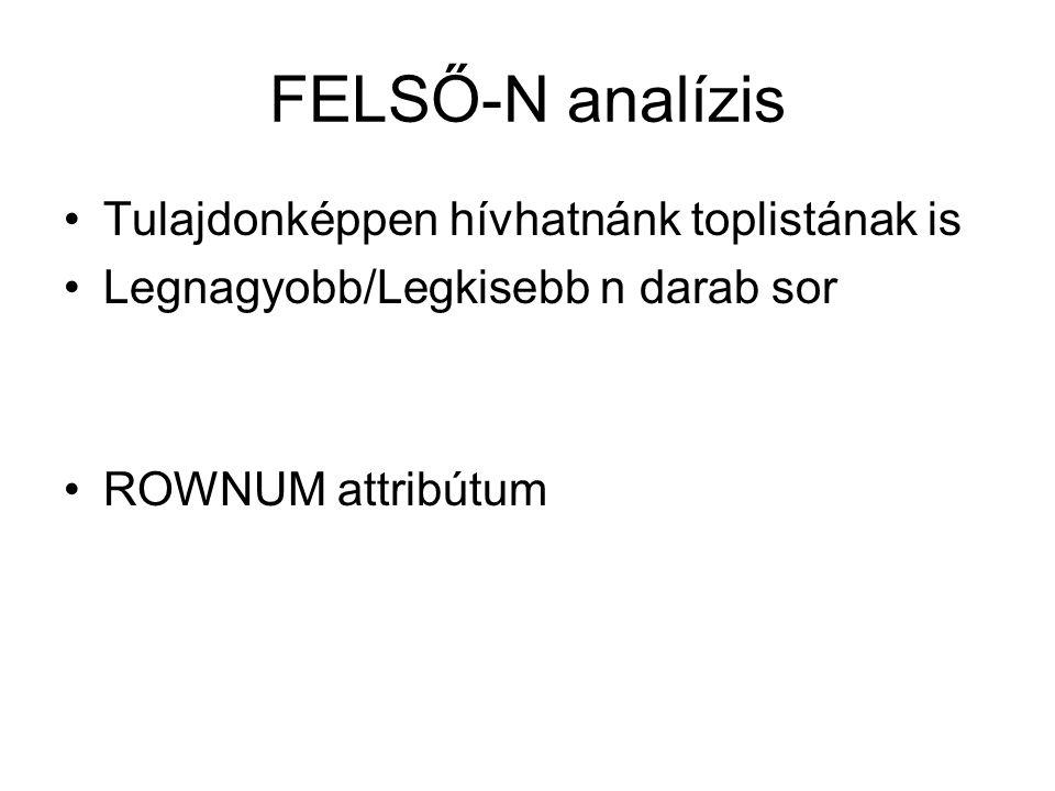 FELSŐ-N analízis Tulajdonképpen hívhatnánk toplistának is Legnagyobb/Legkisebb n darab sor ROWNUM attribútum