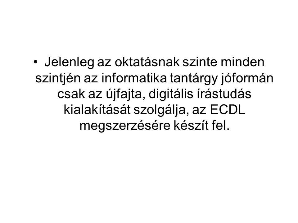 Jelenleg az oktatásnak szinte minden szintjén az informatika tantárgy jóformán csak az újfajta, digitális írástudás kialakítását szolgálja, az ECDL me