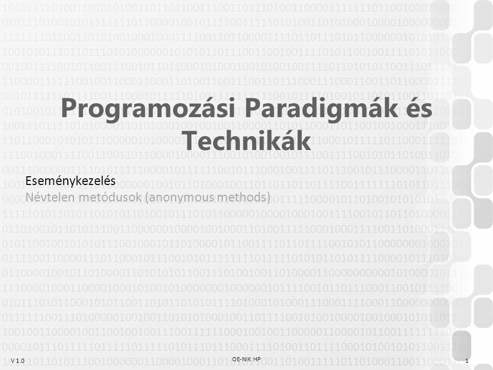 V 1.0 OE-NIK HP 1 Programozási Paradigmák és Technikák Eseménykezelés Névtelen metódusok (anonymous methods)