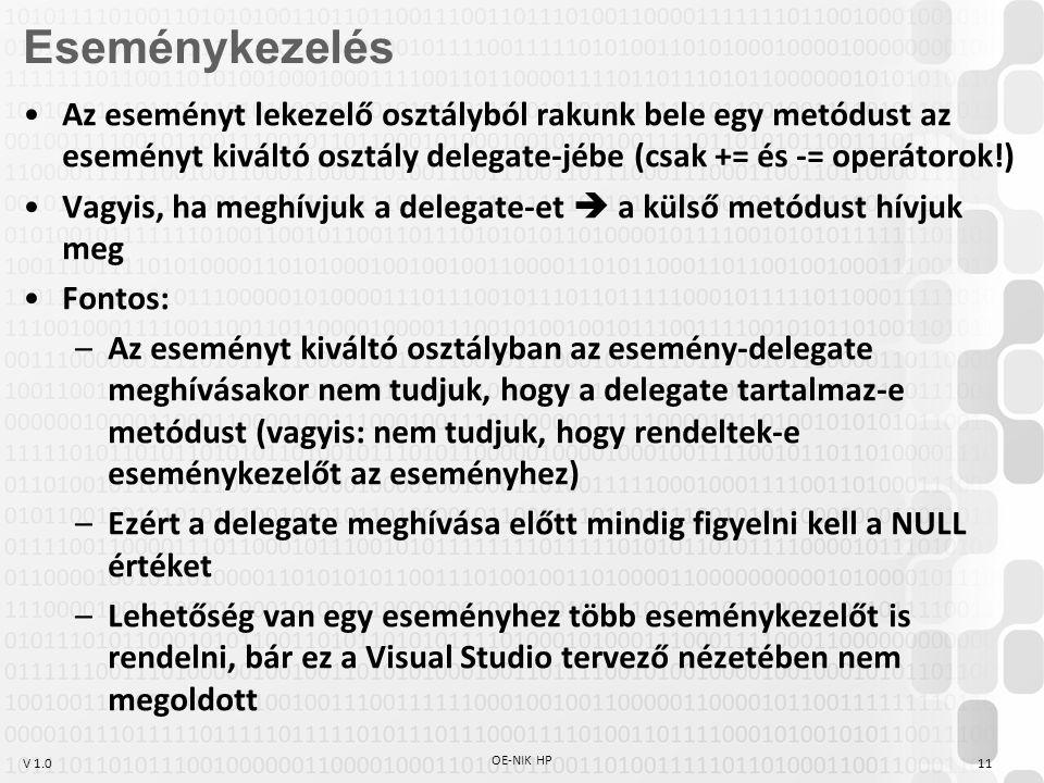 V 1.0 OE-NIK HP 11 Az eseményt lekezelő osztályból rakunk bele egy metódust az eseményt kiváltó osztály delegate-jébe (csak += és -= operátorok!) Vagyis, ha meghívjuk a delegate-et  a külső metódust hívjuk meg Fontos: –Az eseményt kiváltó osztályban az esemény-delegate meghívásakor nem tudjuk, hogy a delegate tartalmaz-e metódust (vagyis: nem tudjuk, hogy rendeltek-e eseménykezelőt az eseményhez) –Ezért a delegate meghívása előtt mindig figyelni kell a NULL értéket –Lehetőség van egy eseményhez több eseménykezelőt is rendelni, bár ez a Visual Studio tervező nézetében nem megoldott Eseménykezelés
