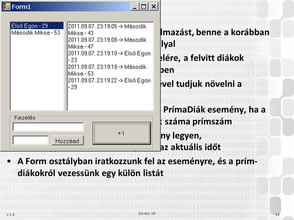 V 1.0 OE-NIK HP 14 Hozzunk létre Windows Forms alkalmazást, benne a korábban említett Diák {Név, Kreditek} osztállyal Legyen lehetőségünk diákok felvitelére, a felvitt diákok jelenjenek meg egy ListBox vezérlőben Az egyes diákoknak gomb segítségével tudjuk növelni a kreditszámát A diák osztályban következzen be a PrímaDiák esemény, ha a kreditszám-változás után a kreditek száma prímszám Az esemény küldője a kiváltó példány legyen, eseményparaméterként küldjük el az aktuális időt A Form osztályban iratkozzunk fel az eseményre, és a prím- diákokról vezessünk egy külön listát Eseménykezelés feladat
