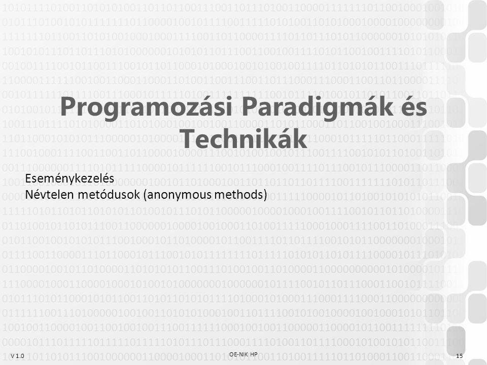 V 1.0 OE-NIK HP 15 Programozási Paradigmák és Technikák Eseménykezelés Névtelen metódusok (anonymous methods)