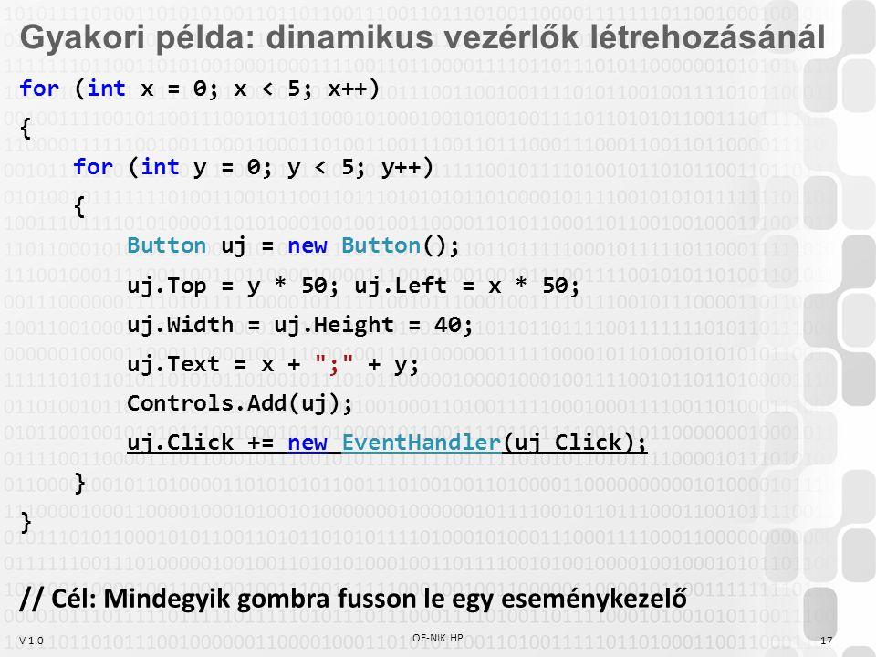 V 1.0 OE-NIK HP 17 Gyakori példa: dinamikus vezérlők létrehozásánál for (int x = 0; x < 5; x++) { for (int y = 0; y < 5; y++) { Button uj = new Button(); uj.Top = y * 50; uj.Left = x * 50; uj.Width = uj.Height = 40; uj.Text = x + ; + y; Controls.Add(uj); uj.Click += new EventHandler(uj_Click); } } // Cél: Mindegyik gombra fusson le egy eseménykezelő