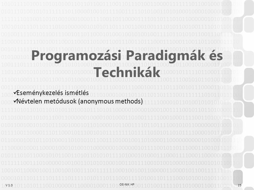 V 1.0 OE-NIK HP 25 Programozási Paradigmák és Technikák Eseménykezelés ismétlés Névtelen metódusok (anonymous methods)