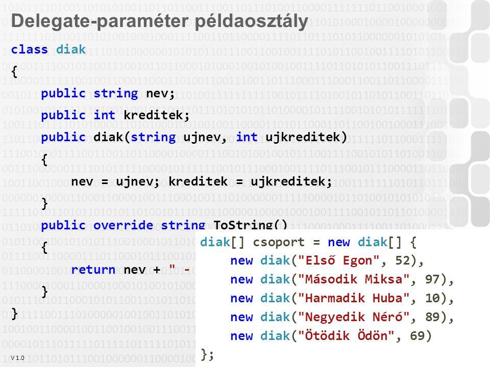 V 1.0 OE-NIK HP 8 Delegate-paraméter példaosztály class diak { public string nev; public int kreditek; public diak(string ujnev, int ujkreditek) { nev = ujnev; kreditek = ujkreditek; } public override string ToString() { return nev + - + kreditek; } diak[] csoport = new diak[] { new diak( Első Egon , 52), new diak( Második Miksa , 97), new diak( Harmadik Huba , 10), new diak( Negyedik Néró , 89), new diak( Ötödik Ödön , 69) };