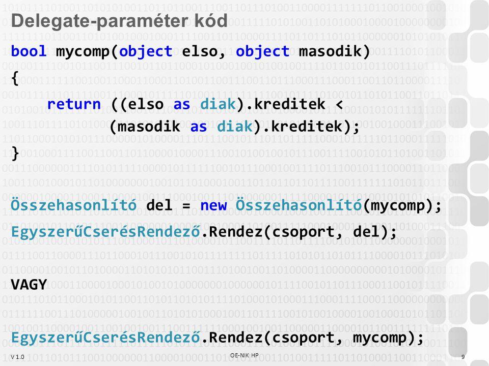 V 1.0 OE-NIK HP 9 Delegate-paraméter kód bool mycomp(object elso, object masodik) { return ((elso as diak).kreditek < (masodik as diak).kreditek); } Összehasonlító del = new Összehasonlító(mycomp); EgyszerűCserésRendező.Rendez(csoport, del); VAGY EgyszerűCserésRendező.Rendez(csoport, mycomp);