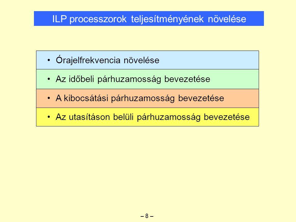 ILP processzorok teljesítményének növelése – 8 – Órajelfrekvencia növelése Az időbeli párhuzamosság bevezetése A kibocsátási párhuzamosság bevezetése Az utasításon belüli párhuzamosság bevezetése