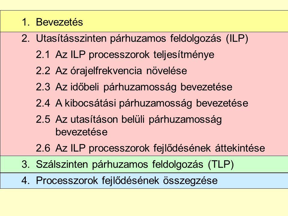 1.Bevezetés 2.Utasításszinten párhuzamos feldolgozás (ILP) 2.1Az ILP processzorok teljesítménye 2.2 Az órajelfrekvencia növelése 2.3 Az időbeli párhuzamosság bevezetése 2.4A kibocsátási párhuzamosság bevezetése 2.5Az utasításon belüli párhuzamosság bevezetése 2.6Az ILP processzorok fejlődésének áttekintése 3.Szálszinten párhuzamos feldolgozás (TLP) 4.Processzorok fejlődésének összegzése