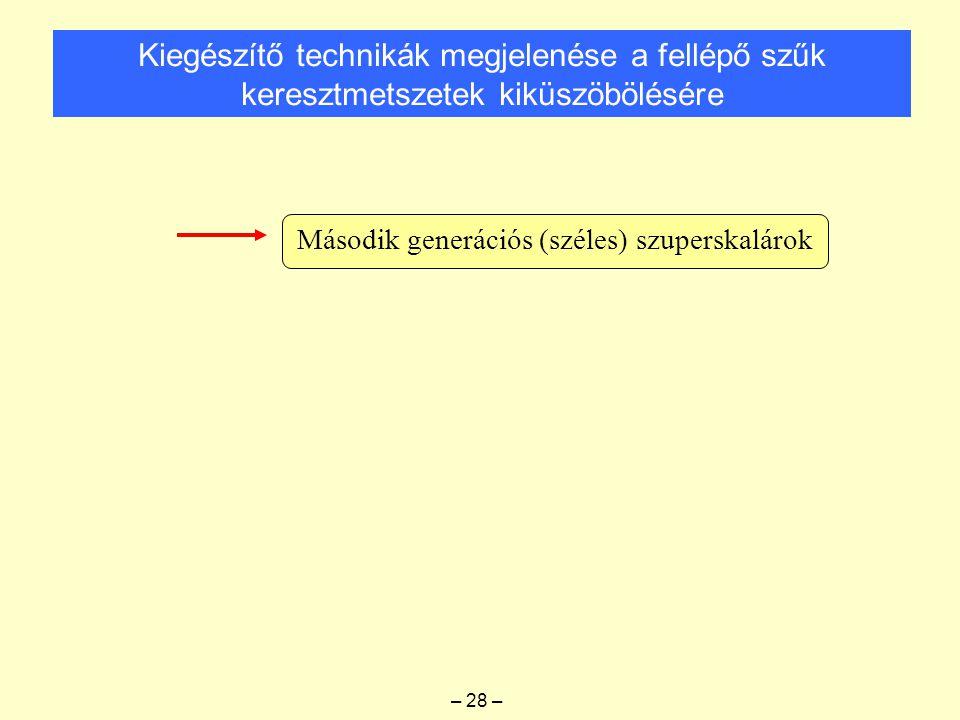 Kiegészítő technikák megjelenése a fellépő szűk keresztmetszetek kiküszöbölésére Második generációs (széles) szuperskalárok – 28 –