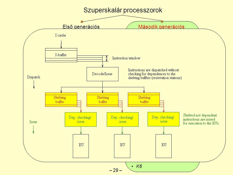 """Gyorsítótár: Szuperskalár processzorok Első generációs """"keskeny szuperskalárok Második generációs """"széles szuperskalárok Jellemzők: Szélesség: 2-3 RISC utasítás/ciklus vagy 2 CISC utasítás/ciklus """"széles 4 RISC utasítás/ciklus vagy 3 CISC utasítás/ciklus """"széles Proc."""