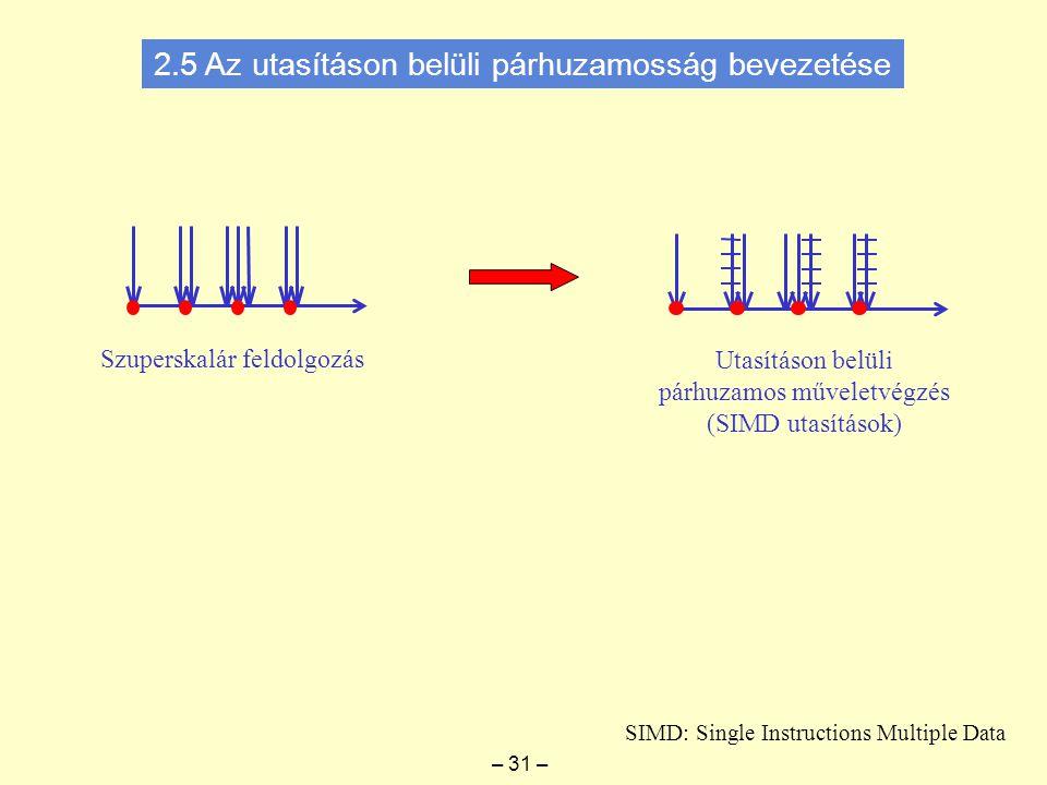 Szuperskalár feldolgozás Utasításon belüli párhuzamos műveletvégzés (SIMD utasítások) SIMD: Single Instructions Multiple Data – 31 – 2.5 Az utasításon belüli párhuzamosság bevezetése