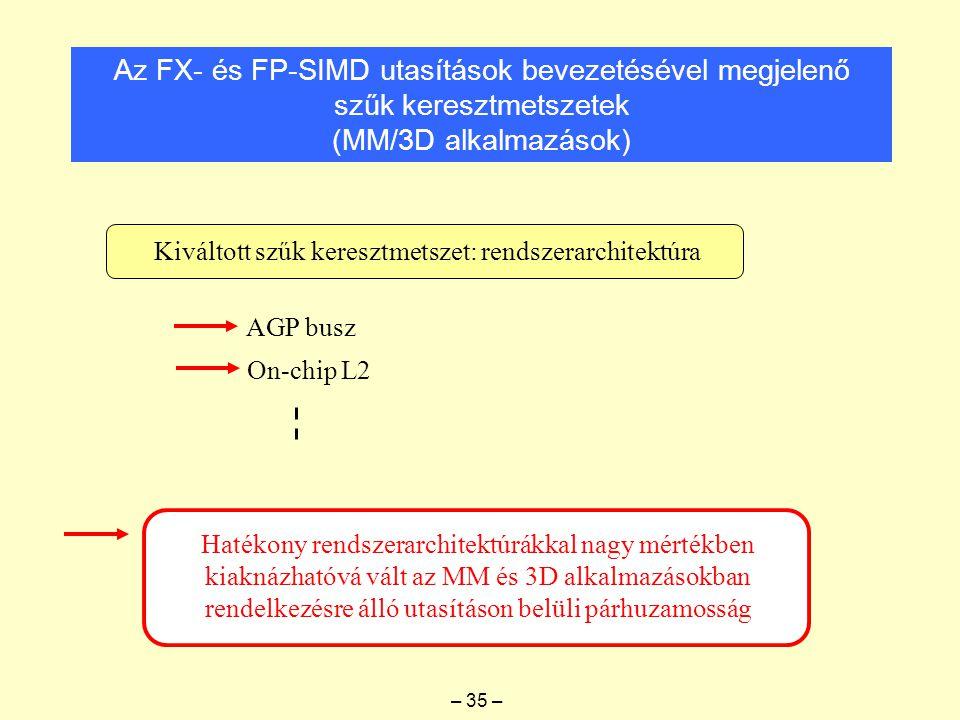 Az FX- és FP-SIMD utasítások bevezetésével megjelenő szűk keresztmetszetek (MM/3D alkalmazások) Kiváltott szűk keresztmetszet: rendszerarchitektúra AGP busz On-chip L2 Hatékony rendszerarchitektúrákkal nagy mértékben kiaknázhatóvá vált az MM és 3D alkalmazásokban rendelkezésre álló utasításon belüli párhuzamosság – 35 –