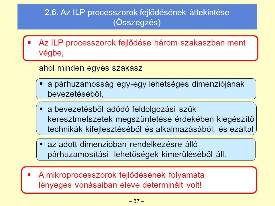  Az ILP processzorok fejlődése három szakaszban ment végbe, ahol minden egyes szakasz  A mikroprocesszorok fejlődésének folyamata lényeges vonásaiban eleve determinált volt.