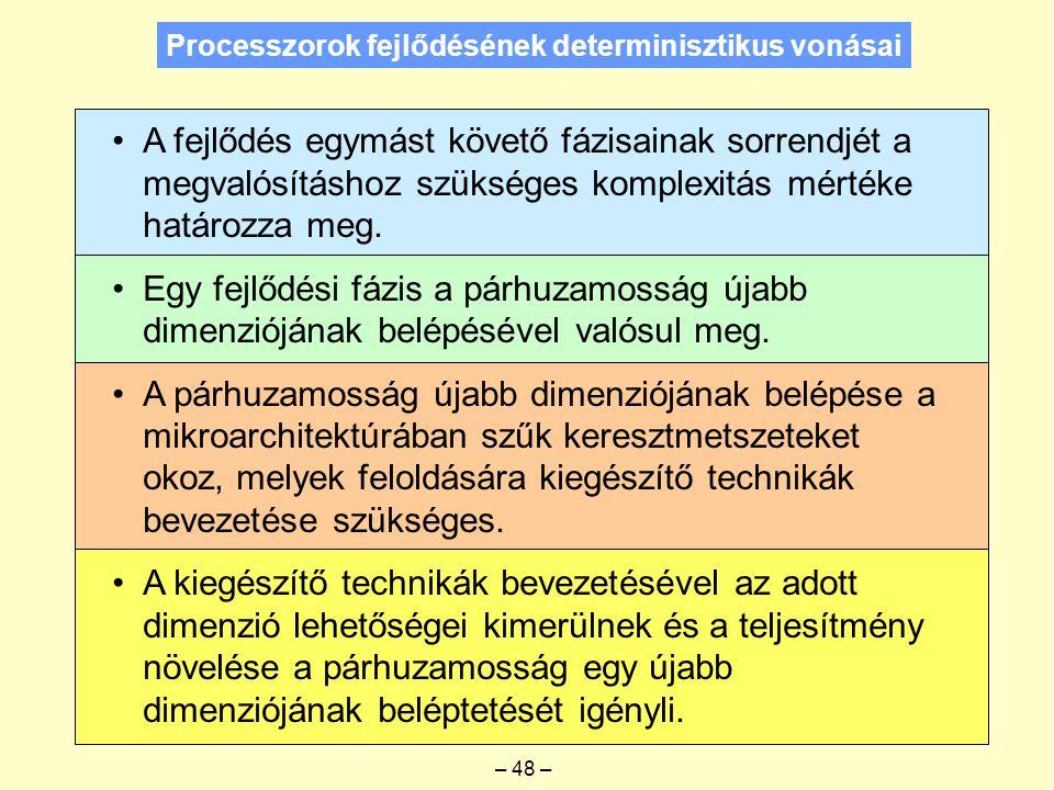 Processzorok fejlődésének determinisztikus vonásai A fejlődés egymást követő fázisainak sorrendjét a megvalósításhoz szükséges komplexitás mértéke határozza meg.