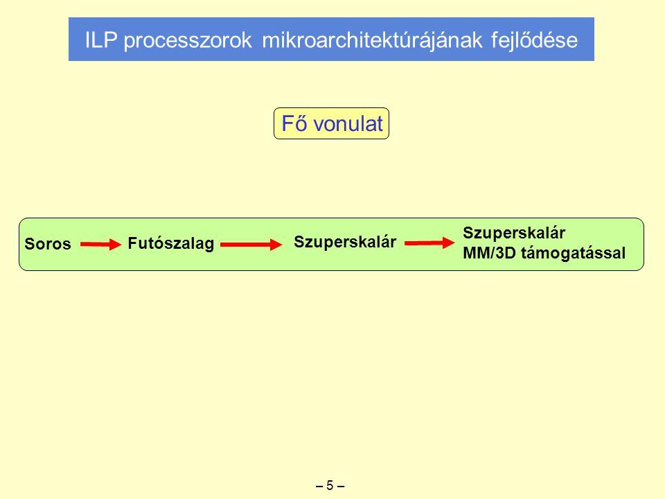 ILP processzorok mikroarchitektúrájának fejlődése Soros Futószalag Szuperskalár MM/3D támogatással Fő vonulat – 5 –