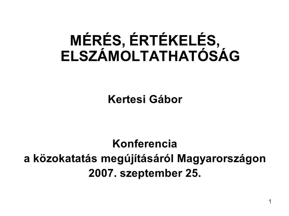 1 MÉRÉS, ÉRTÉKELÉS, ELSZÁMOLTATHATÓSÁG Kertesi Gábor Konferencia a közokatatás megújításáról Magyarországon 2007. szeptember 25.