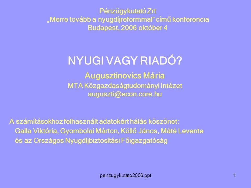"""penzugykutato2006.ppt1 Pénzügykutató Zrt """"Merre tovább a nyugdíjreformmal című konferencia Budapest, 2006 október 4 NYUGI VAGY RIADÓ."""