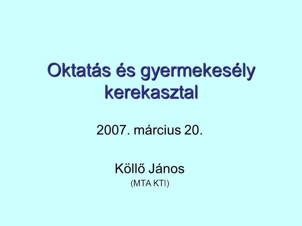 Oktatás és gyermekesély kerekasztal 2007. március 20. Köllő János (MTA KTI)