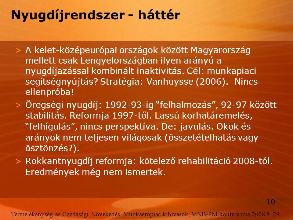 10 Termelékenység és Gazdasági Növekedés, Munkaerőpiac kihívások, MNB-PM konferencia 2008 8. 29. Nyugdíjrendszer - háttér >A kelet-középeurópai ország