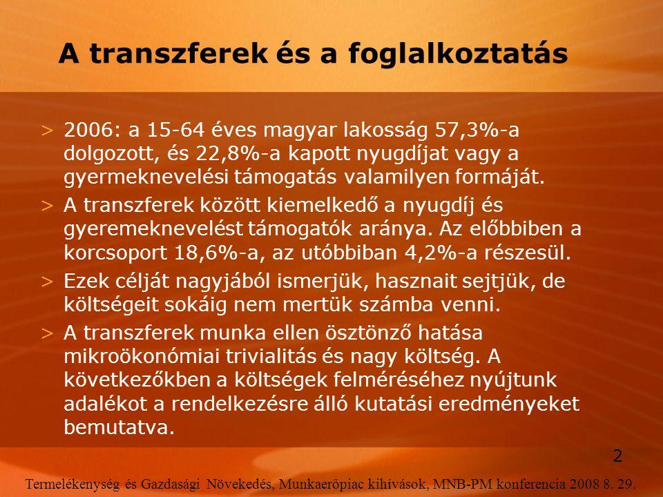 2 Termelékenység és Gazdasági Növekedés, Munkaerőpiac kihívások, MNB-PM konferencia 2008 8. 29. A transzferek és a foglalkoztatás >2006: a 15-64 éves