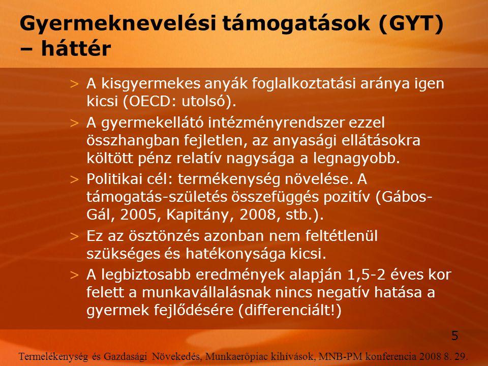 5 Termelékenység és Gazdasági Növekedés, Munkaerőpiac kihívások, MNB-PM konferencia 2008 8. 29. Gyermeknevelési támogatások (GYT) – háttér >A kisgyerm