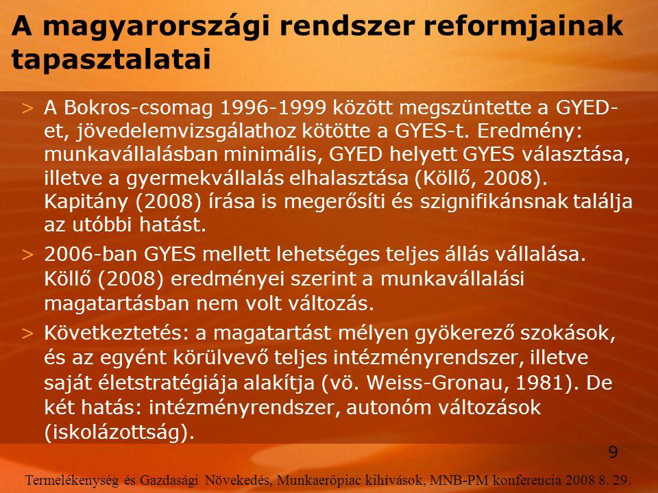 9 Termelékenység és Gazdasági Növekedés, Munkaerőpiac kihívások, MNB-PM konferencia 2008 8. 29. A magyarországi rendszer reformjainak tapasztalatai >A