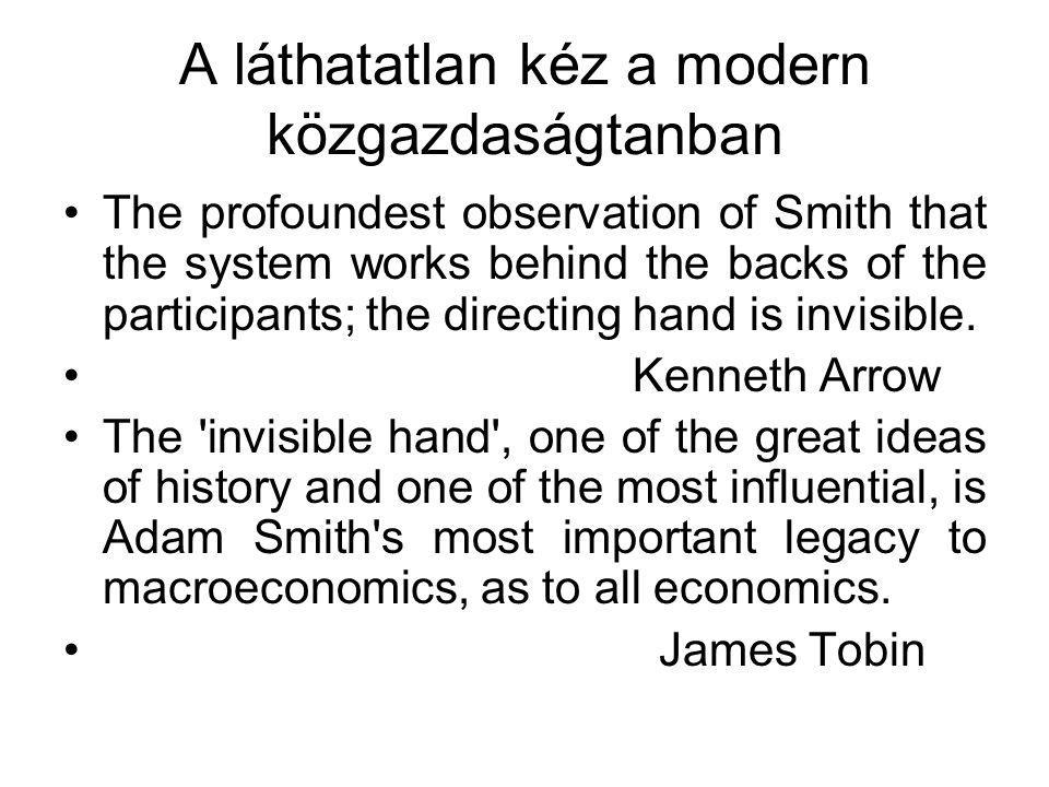A láthatatlan kéz a modern közgazdaságtanban The profoundest observation of Smith that the system works behind the backs of the participants; the directing hand is invisible.