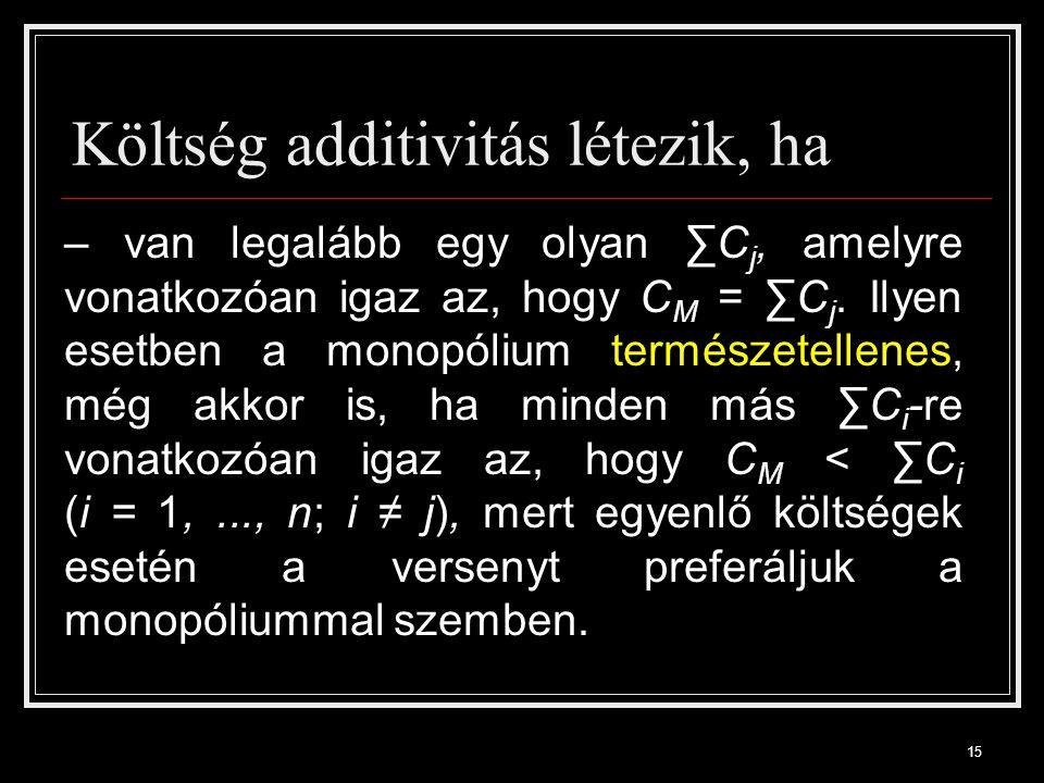 15 Költség additivitás létezik, ha – van legalább egy olyan ∑C j, amelyre vonatkozóan igaz az, hogy C M = ∑C j.