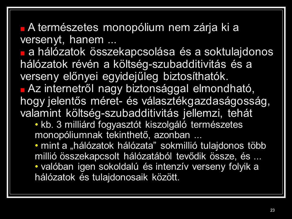 23 ■ A természetes monopólium nem zárja ki a versenyt, hanem...