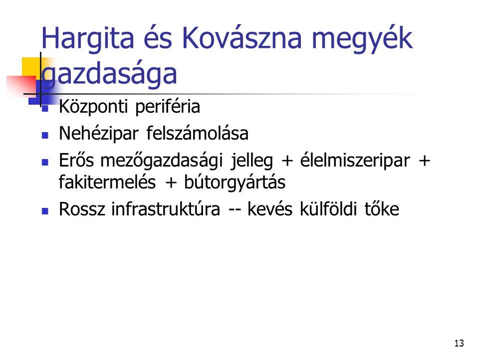 13 Hargita és Kovászna megyék gazdasága Központi periféria Nehézipar felszámolása Erős mezőgazdasági jelleg + élelmiszeripar + fakitermelés + bútorgyá