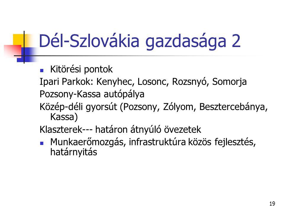 19 Dél-Szlovákia gazdasága 2 Kitörési pontok Ipari Parkok: Kenyhec, Losonc, Rozsnyó, Somorja Pozsony-Kassa autópálya Közép-déli gyorsút (Pozsony, Zóly