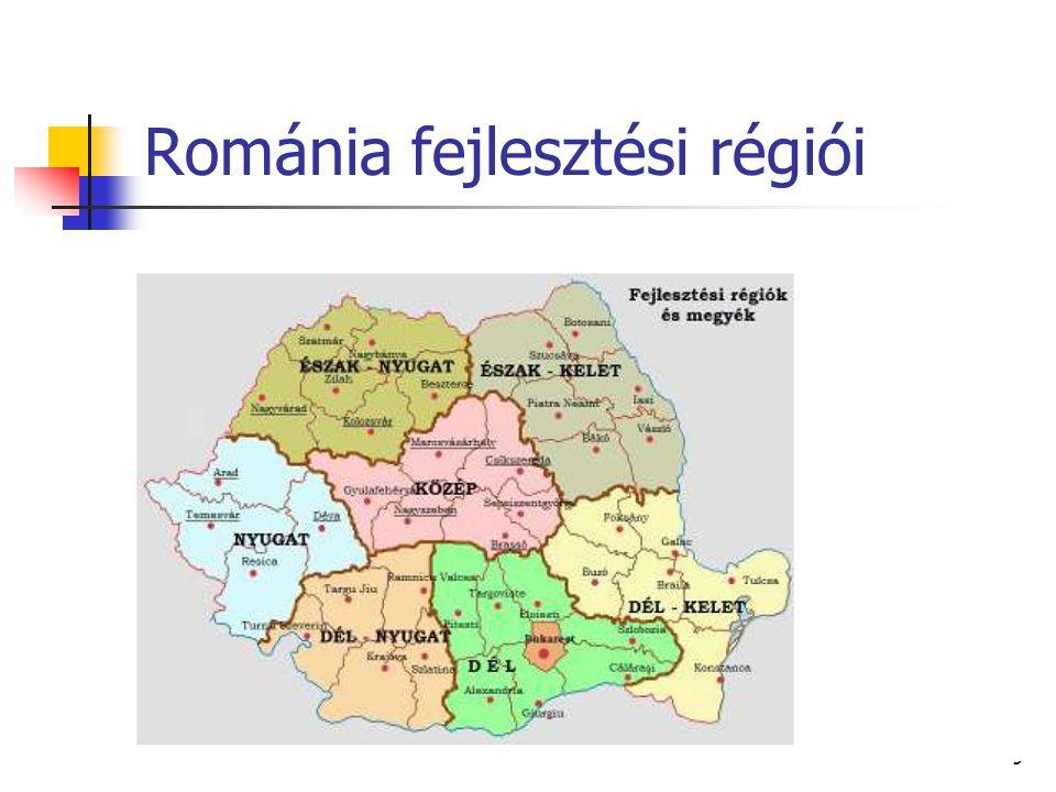 Erős fejlettségi differenciálódás 1995-ben 8 régióból 4 (Központi, Dél-Kelet, Bukarest és a Nyugat) egy főre jutó nemzeti össztermékben országos átlag felett.