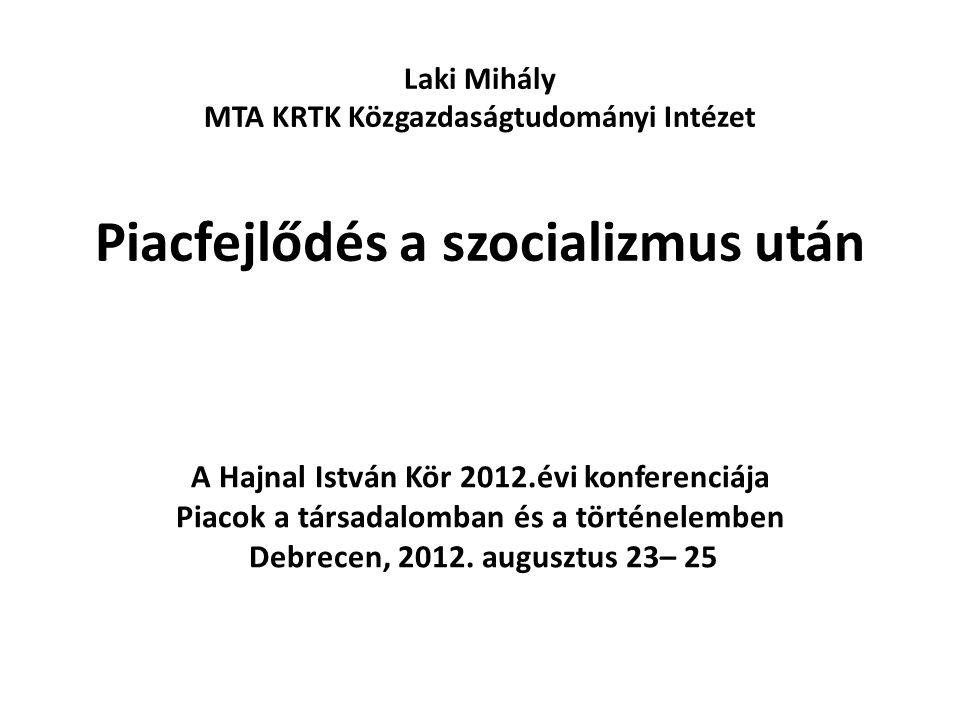 Az előadás vázlata A kutatásról A piac fejlődés fogalma – mutatói - ösztönzői A szocializmus utáni piacfejlődés a vállalatok világában Makro elemzés – a piacfejlődés szakaszai Tanulságok