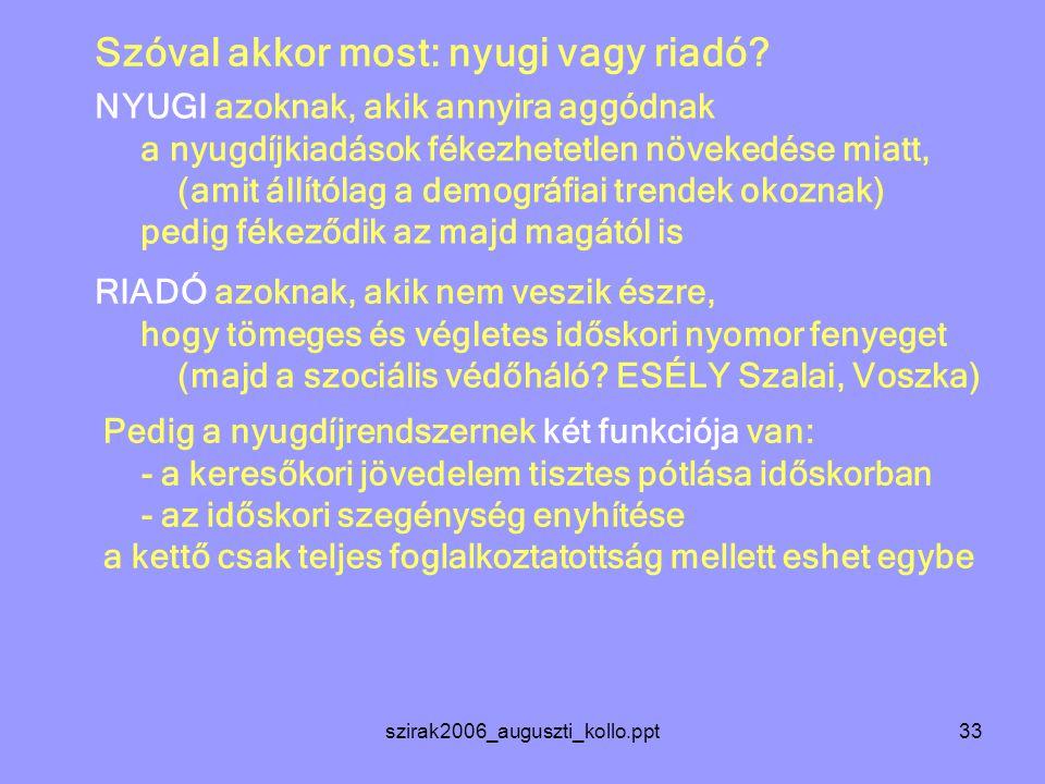 szirak2006_auguszti_kollo.ppt33 Szóval akkor most: nyugi vagy riadó.