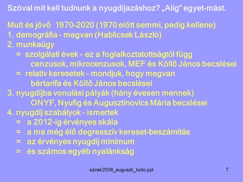 szirak2006_auguszti_kollo.ppt7 Szóval mit kell tudnunk a nyugdíjazáshoz.