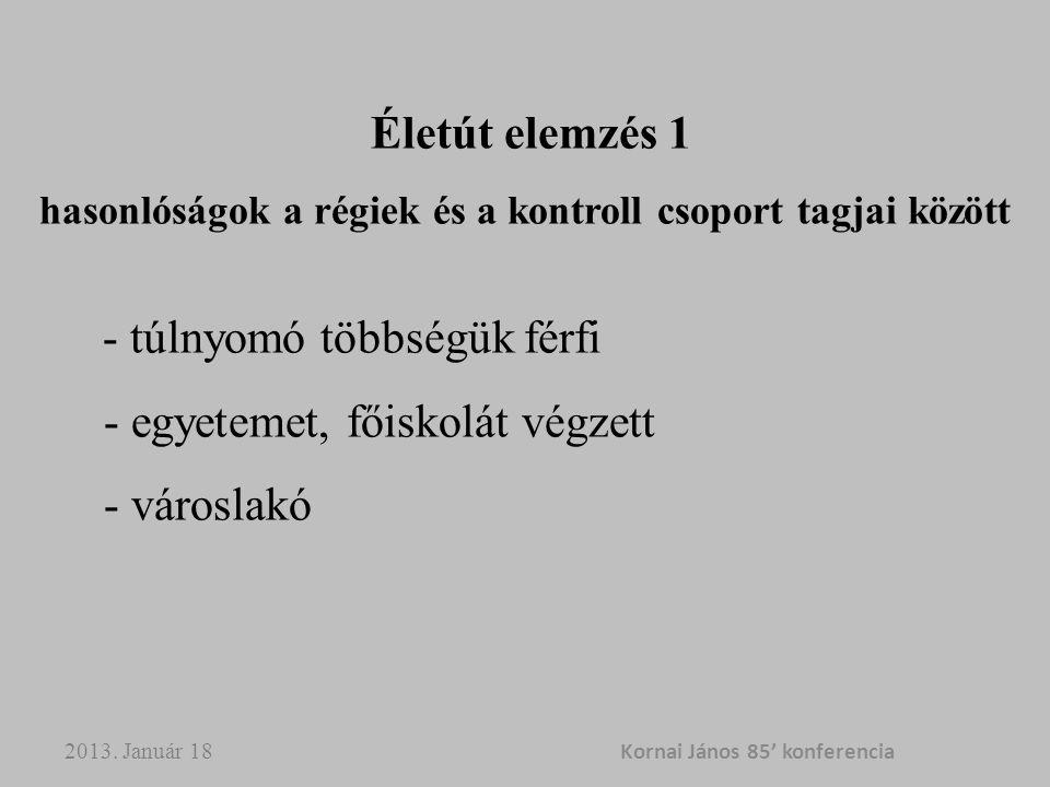 2013. Január 18 Kornai János 85' konferencia Életút elemzés 1 hasonlóságok a régiek és a kontroll csoport tagjai között - túlnyomó többségük férfi - e