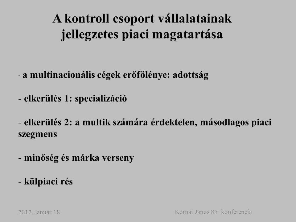 A kontroll csoport vállalatainak jellegzetes piaci magatartása - a multinacionális cégek erőfölénye: adottság - elkerülés 1: specializáció - elkerülés 2: a multik számára érdektelen, másodlagos piaci szegmens - minőség és márka verseny - külpiaci rés 2012.