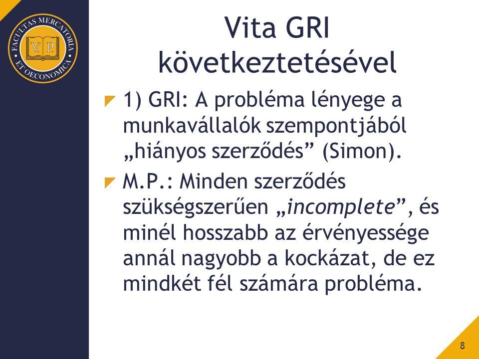 """Vita GRI következtetésével 1) GRI: A probléma lényege a munkavállalók szempontjából """"hiányos szerződés (Simon)."""