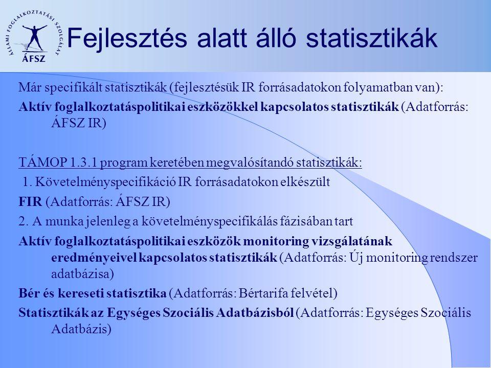 Fejlesztés alatt álló statisztikák Már specifikált statisztikák (fejlesztésük IR forrásadatokon folyamatban van): Aktív foglalkoztatáspolitikai eszközökkel kapcsolatos statisztikák (Adatforrás: ÁFSZ IR) TÁMOP 1.3.1 program keretében megvalósítandó statisztikák: 1.